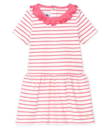 Baby Girls' Striped Dress with Ruff Marshmallow white / Cupcake pink