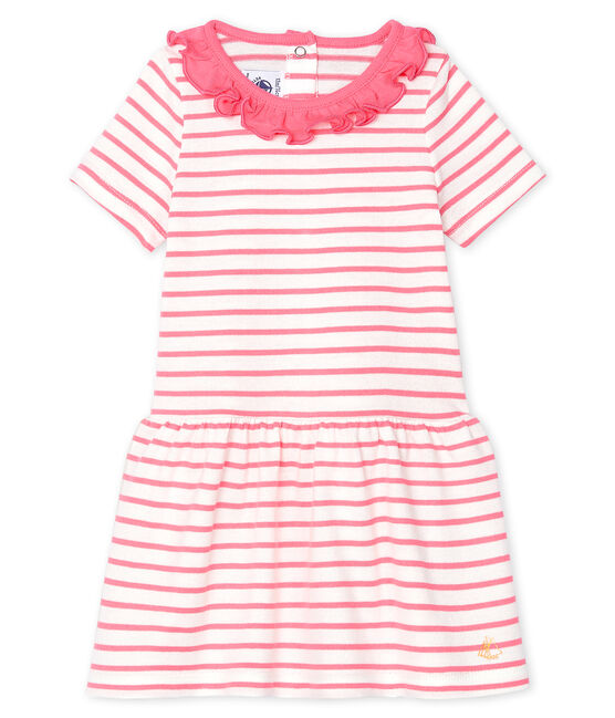 Baby Girls' Striped Dress with Ruff Marshmallow white / Cupcake pink