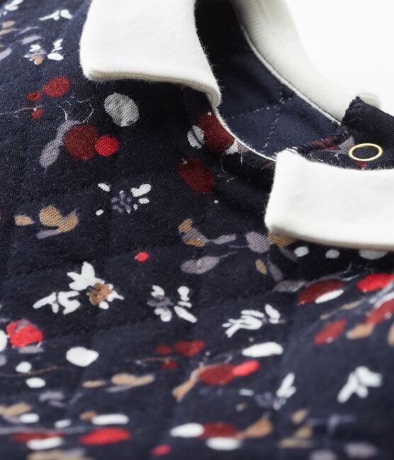 Girl's short sleeved dress Smoking blue / Multico white