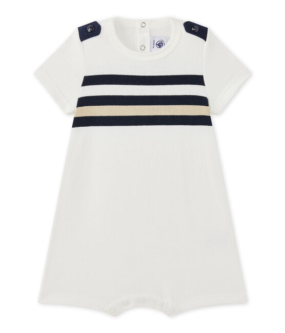 Baby boy's short-sleeved striped romper Marshmallow white / Multico white