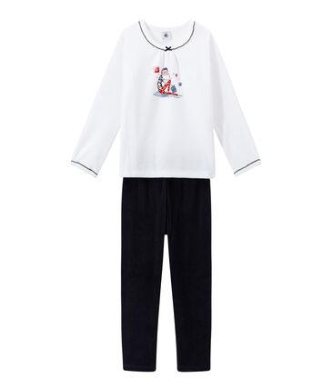 Girl's velour pyjamas Smoking blue / Ecume white