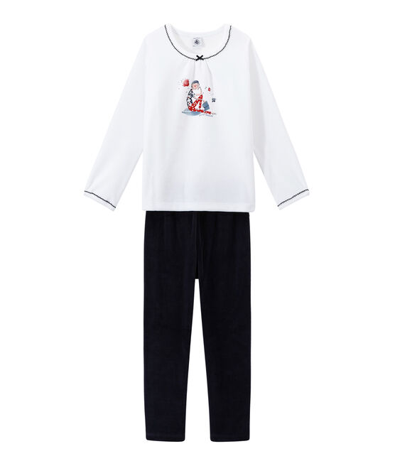 Girl's velour pyjamas Smoking blue / Ecume white