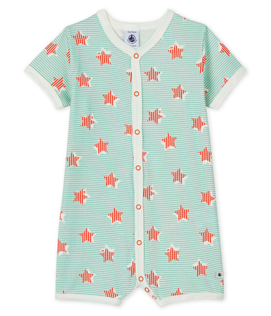 Babies' Blue Stripes and Stars Ribbed Playsuit Marshmallow white / Multico white