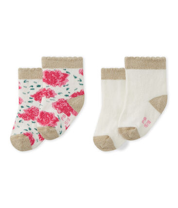 Set of 2 pairs of baby girl's socks . set
