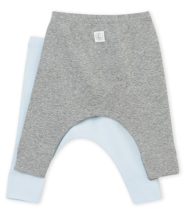 Unisex baby's set of two leggings in plain brushed soft cotton . set