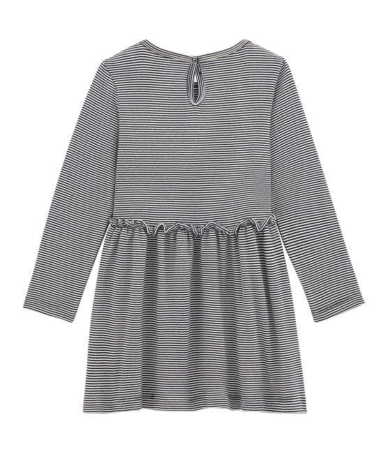Iconic girl's dress Smoking blue / Marshmallow white