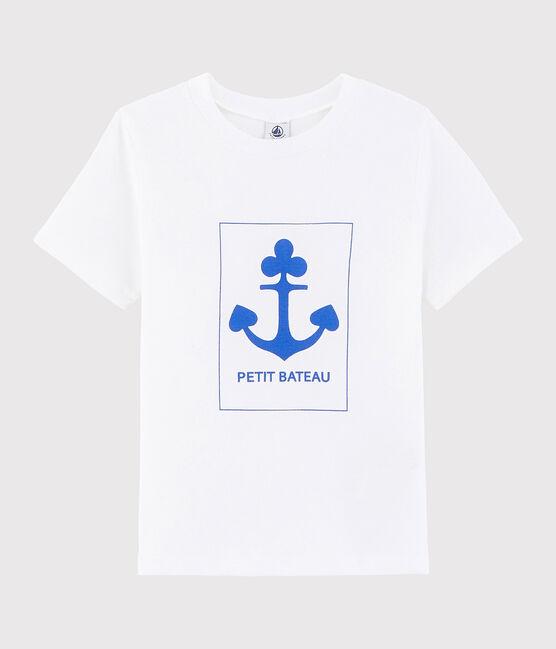 Boys' silkscreen print T-shirt Ecume white