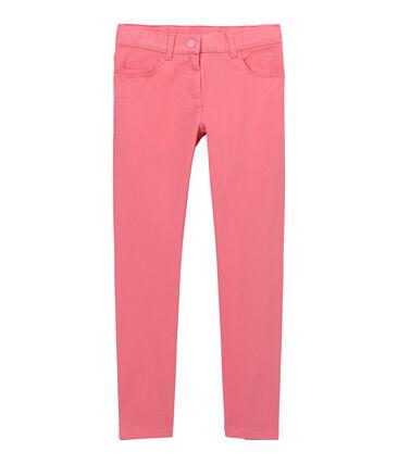 Girls' coloured denim trousers Petal pink