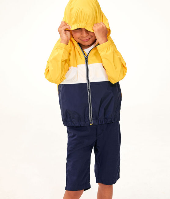 Boys' Short Windbreaker Jaune yellow / Multico white