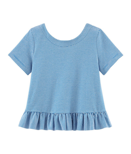 Girls' Short-sleeved T-shirt Riyadh blue / Marshmallow white