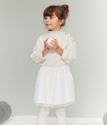 Girl's Long-sleeved Dress Marshmallow white / Or yellow