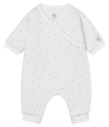 Babies' Long Jumpsuit in Padded Rib Knit Marshmallow white / Souriceau grey