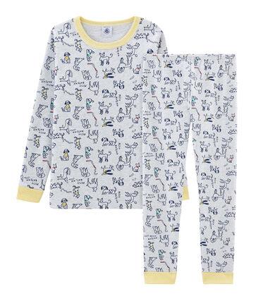 Boys' Snugfit Ribbed Pyjamas Poussiere grey / Multico white