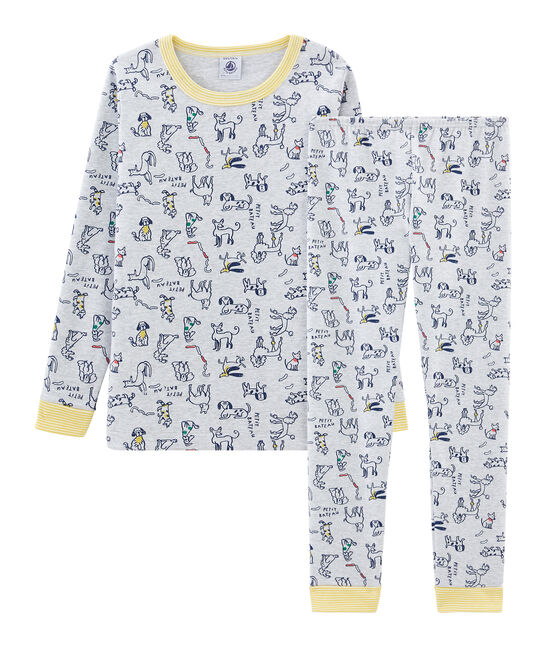 Boys' Snugfit Ribbed Pyjamas Poussiere grey / Multico white