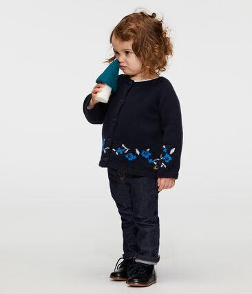 Baby Girls' Wool/Cotton Knit Cardigan Smoking blue / Multico white