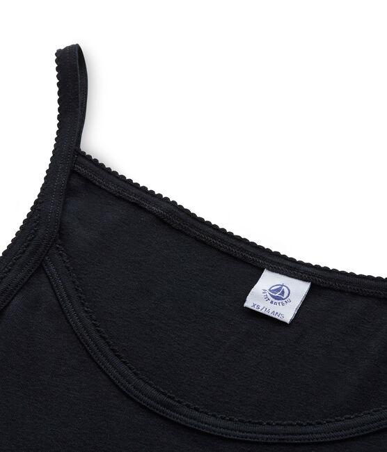 Chemise à bretelles femme coton/laine/soie Noir black