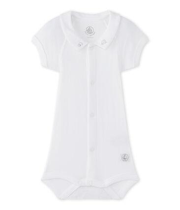 Baby boys' bodysuit with collar Ecume white
