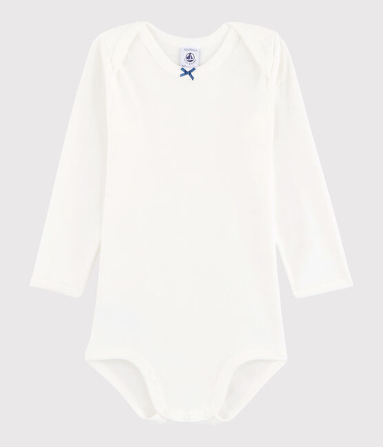 Baby Girls' Long-Sleeved Bodysuit Marshmallow white / Acier blue