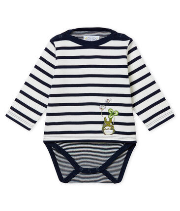 Baby boys' classic marinière bodysuit Marshmallow white / Smoking blue