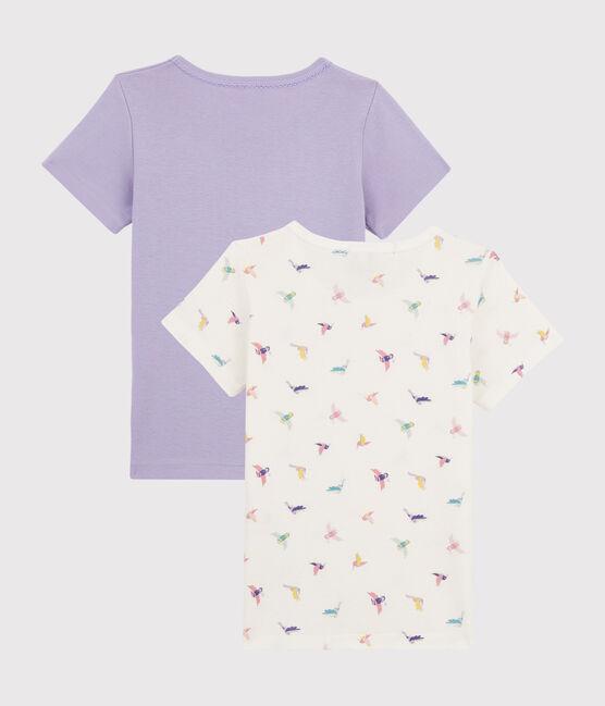 Girls' Bird Print Short-sleeved T-Shirt - 2-Piece Set . set