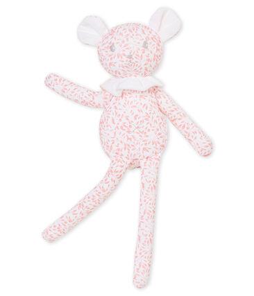 Lamb comforter in print jersey Marshmallow white / Joli pink