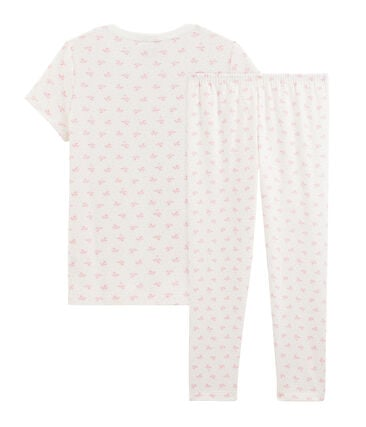 Girls' Ribbed Floral Pyjamas Marshmallow white / Gretel pink