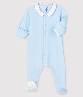 Baby Boys' Blue Velour Sleepsuit with Collar Fraicheur blue