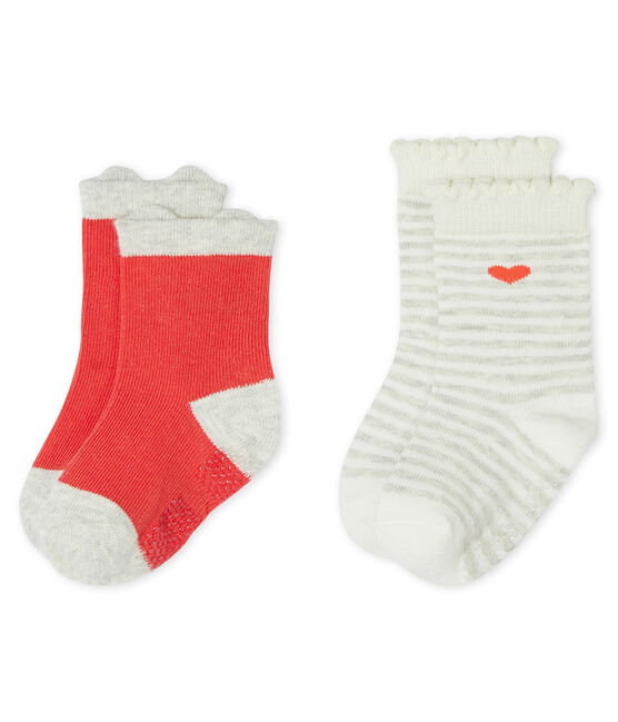 Set of 2 pairs of socks for baby girls Signal red