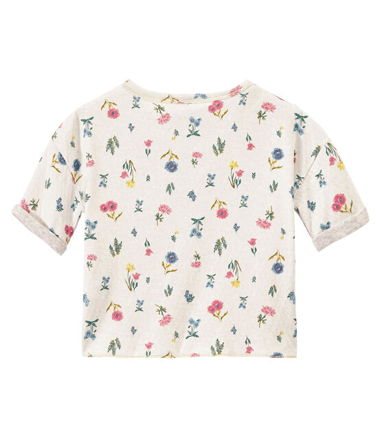 Girl's T-shirt in light print double knit Marshmallow white / Multico white