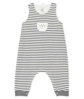 Unisex Baby's Long Dungarees Marshmallow white / Smoking blue
