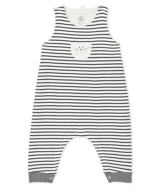 Unisex Baby's Long Dungarees Marshmallow white / Smoking blue