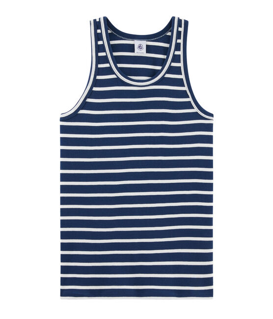 Women's iconic tank top Medieval blue / Marshmallow white