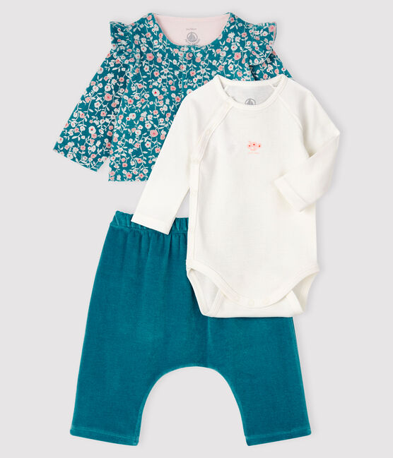 Babies' Velour and Rib Knit Three-Piece MOZAIK/MULTICO
