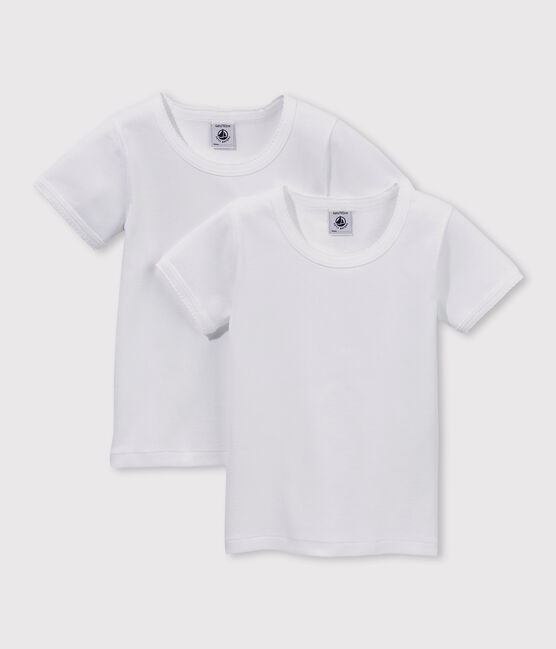 Set of 2 little girls' short-sleeved white t-shirts . set