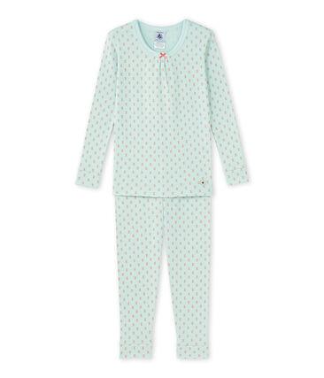 Girl's printed pajamas Bocal blue / Rose pink