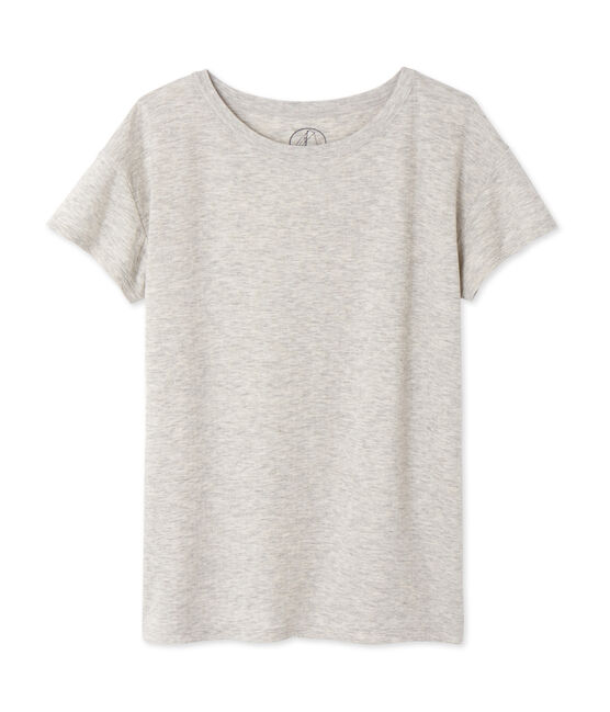 Women's maxi T-shirt in mottled extra-fine tube knit Beluga Chine grey
