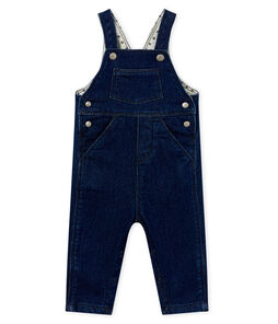 Unisex baby long dungarees in denim look jersey