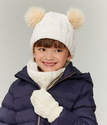 Girls' Woolly Hat Marshmallow white / Or yellow
