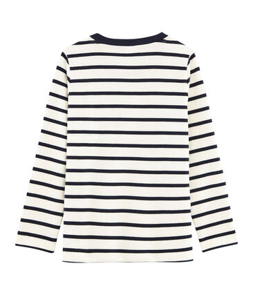 Boys' Long-Sleeved T-shirt Marshmallow white / Smoking blue