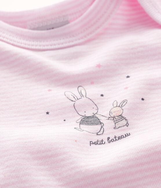 Baby girls' short-sleeved bodysuit Doll pink / Ecume white
