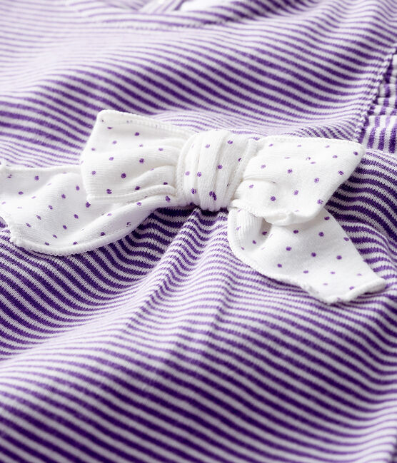 Baby girl's pinstriped playsuit Real purple / Marshmallow white