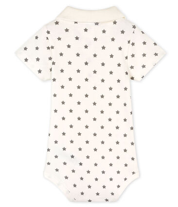 Baby Boys' Print Bodysuit with Polo Shirt Collar Marshmallow white / Gris grey
