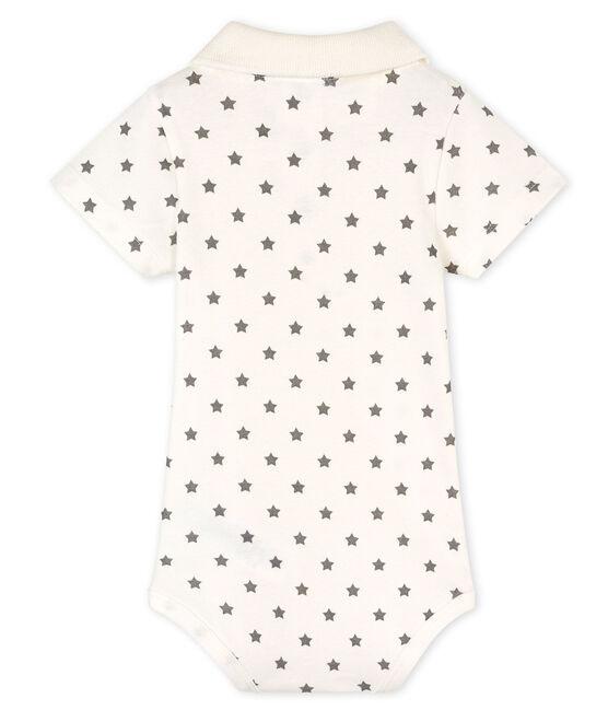 Baby Boys' Print Bodysuit with Polo Shirt Collar Marshmallow white / Gris grey