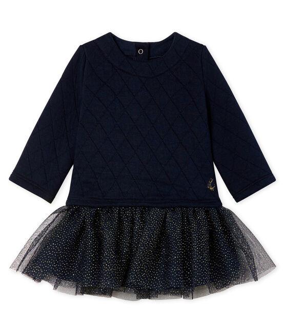 Baby Girls' Long-Sleeved Dual Material Dress Smoking blue