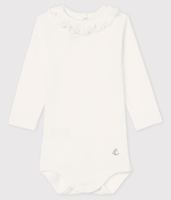 Baby girl's long-sleeved bodysuit Marshmallow white