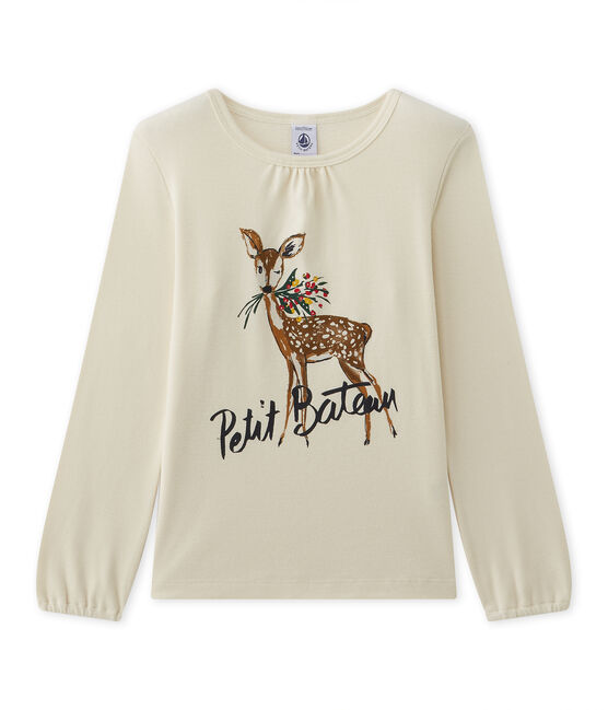Girl's long-sleeved tee with motif Coquille beige / Froufrou red