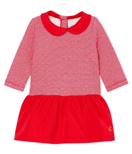 Baby Girls' Long-Sleeved Tube-Knit Striped Dress Terkuit red