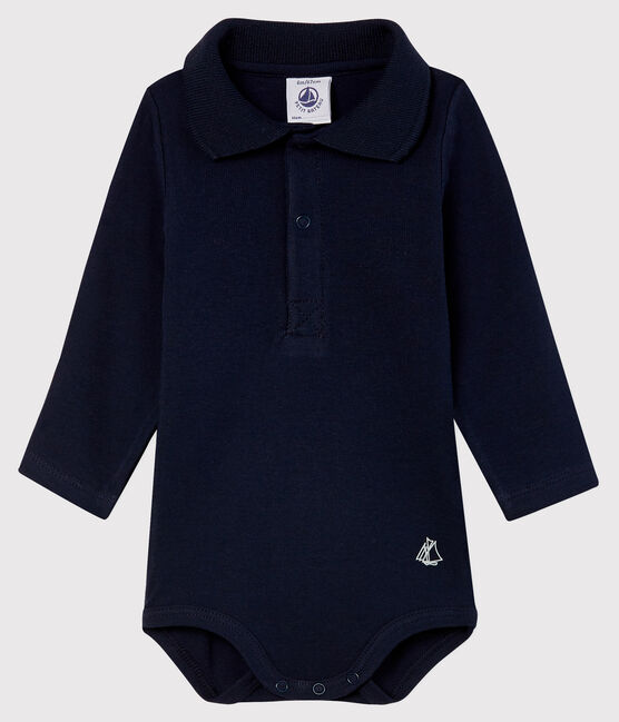 Baby's long-sleeved bodysuit with polo neck Smoking blue