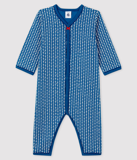 Baby Girls' Blue Tube-Knit Footless Sleepsuit Major blue / Ecume white