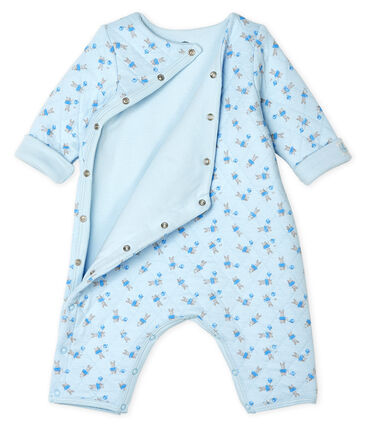 Unisex Baby's Long Tube Knit Bodysuit Fraicheur blue / Multico white